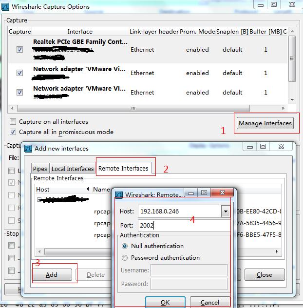 wireshark管理网卡添加远程机器网卡